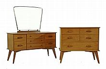 A walnut dressing table, 1960s, with a trapezoid