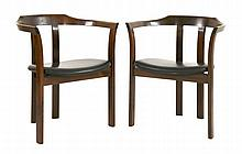 A pair of Danish mahogany armchairs  (2)