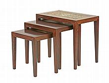 A nest of Danish rosewood coffee tables, 1960s, by