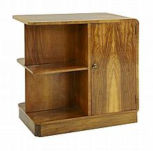 An Art Deco walnut bookcase cabinet, with two