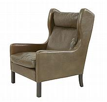 A Danish brown leather armchair, by George Thams