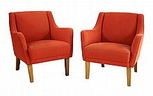 A pair of red-upholstered club chairs (2)
