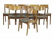 A set of eight walnut and teak dining chairs, with