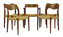 A set of five Model 71 teak dining chairs, by Nils