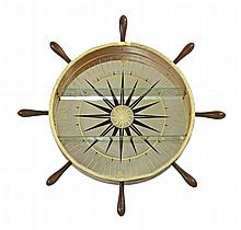 A display shelf, modelled as a ship's wheel, with