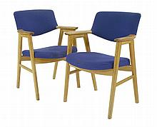 A pair of oak armchairs, designed by Grete Jalk
