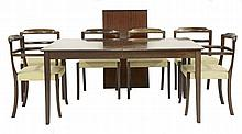 A Danish mahogany dining suite, comprising: six