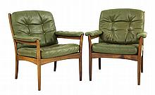 A pair of Swedish stained beechwood lounge chairs,