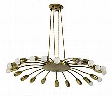 An Italian brass twenty-branch chandelier, 74cm