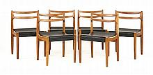 A set of six Danish oak dining chairs, designed by