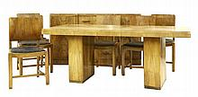 A walnut dining room suite, comprising: a table,