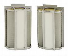 A pair of Art Deco wall lights, with fluted and