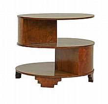 An Art Deco walnut three-tier occasional table,