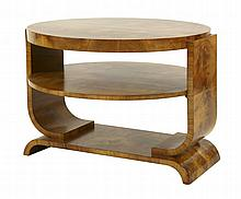 An Art Deco walnut two-tier centre table, 81.5cm