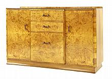 An Art Deco walnut and burr maple sideboard, with