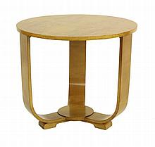 An Art Deco bird's-eye maple top coffee table, the
