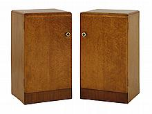 A pair of Art Deco bird's-eye maple pot cupboards,