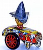 British tinplate clockwork Novelty Car with Driver 'Billy the Kid'