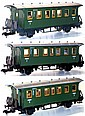 Three Marklin 1-gauge 4-wheel Passenger Coaches