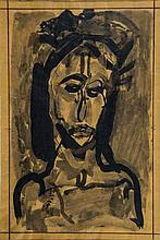 Georges ROUAULT(1871-1958) TÊTE DE CHRIST -LA PASSION n°16, 1928-1932 Lavis d'encre sur papier  Dessin préparatoire pour La Pa...