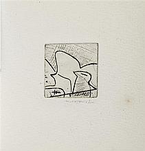 PUEL Gaston. Chanson pour l'immobile. Alès, PAB, Août 1957; in-24 carré (95 x 90mm) cousu de 2 ff. bl., [8] ff., 2 ff. bl., couver...