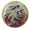 Clément Massier (1845-1917) A circular enamelled earthenware plate, Golfe-Juan, circa 1898. Enamelled signature. Diam. 8 1/8 In.