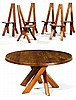 Pierre CHAPO (1927-1986) An elm dining room set comprising a large circular table with six geometrical chairs. Table?: Height. 28 1/2 i