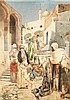 ETTORE SIMONETTI (1857-1909) ÉLÉGANTES DANS LE SOUK DES TAPIS BEAUTIES LOOKING AT CARPETS IN THE BAZAR Aquarelle sur papier signée, ...
