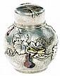 TIFFANY & Co - Edward Chandler MOORE (1827-1891) (dessinateur) Exceptionnelle boîte à thé ovoïde en argent martelé, circa 1880, à dé...