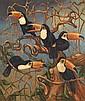 Norbertine Bresslern-Roth (1891-1978) Toucans Huile sur toile Signée en bas au milieu 100 x 82cm