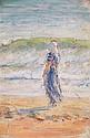 HENRI LEBASQUE (1865-1937) Jeune femme au bord de l'eau Huile sur isorel Signée en bas à droite 31 x 22cm