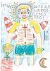 August WALLA (1936-2001) Got als 5 Jahrigs Kleines Kind Crayons et crayons de couleur sur papier Signé en haut à gauche et titré en ...
