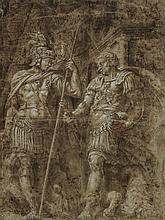 École italienne du XVIe siècle Deux guerriers à l'antique, d'après Polidore Plume et encre brune et rehauts de gouache blanche 32,5 ...