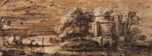 Dans le goût de REMBRANDT Paysage Plume et encre brune et noire, lavis brun 11 x 29,5cm