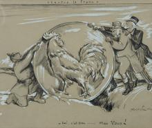 Abel FAIVRE (Lyon 1867-Nice 1945) Les attaques contre le Franc Plume et encre brune rehauts de gouache blanche 22 x 26cm Signé en ba...