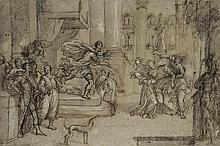 École vénitienne du XVIIe siècle Esther et Assuérus Plume et encre brune sur traits de crayon noir, lavis gris 30 x 45cm Annoté en b...