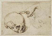 École du nord XVIIe siècle Vanité et fantôme de visage de femme Plume et encre brune, crayon noir 16,8 x 24,7cm Rousseurs et taches,...