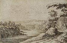 École flamande du début du XVIIe siècle Paysage fluvial Plume et encre brune sur traits de crayon noir, lavis brun et gris 17,5 x 26...