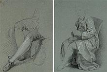 École française du XVIIIe siècle Deux études de buste et de jambes Crayon noir, rehauts de craie blanche et de pastel 27 x 20cm; 33 ...