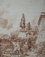 Joseph Barthélémy LEBOUTEUX (1742-c.1775) Vue animée de Caprarola Sanguine 38,5 x 30,5cm Ancienne pliure horizontale au centre