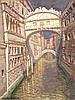 Jacques MARTIN-FERRIERE (1893-1972) Pont des soupirs, soleil, ciel dramatique Huile sur toile Signée en bas à gauche 65 x 51 cm