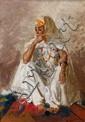 GUSTAVE ACHILLE GUILLAUMET (1840-1887) JEUNE ORIENTALE ASSISE Young oriental sitting Huile sur toile, signée en bas à droite