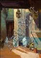 José CRUZ-HERRERA (1890-1972) PROMENADE DANS LE SOUK A walk in the souK Huile sur panneau, signée en bas à gauche. DIM. 32,4 X 24 CM...