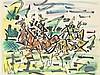 GEN PAUL (Eugène Paul dit) (1895-1975) Cavaliers Aquarelle sur papier Signée en bas à gauche 47 x 63cm