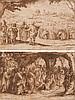 École de Jacques CALLOT (Nancy 1592 – 1635) Deux études de vignettes sur un même montage: la résurrection de Lazare et une scène du ...