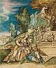 École allemande vers 1600 Pyrame et Thisbée Plume et encre noire, aquarelle et rehauts de gouache 18 x 15cm Usures et gouache blanc...