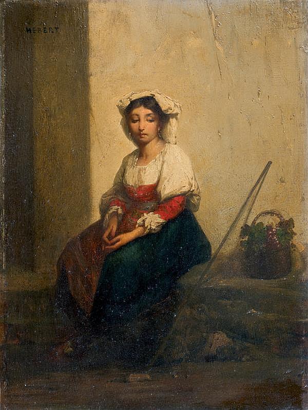 Ernest Hebert (La Tronche 1817 - 1908) Jeune napolitaine pensive Panneau 38,5 x 28 cm Signé en haut à gauche : HEBERT Dans son cadre...