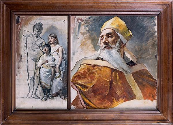 Attribuéà Jean-Paul Laurens (1838 - 1921) Etude d'enfants et femme et évêque dans un cadre À vue double, deux esquisses Huile et cra...