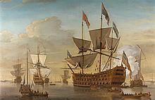 Samuel SCOTT (Londres, 1702 - Bath, 1772) Navire de guerre à trois ponts, traditionnellement identifié comme le Royal William Toile...