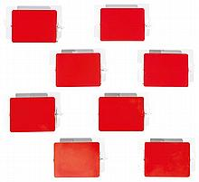 CHARLOTTE PERRIAND (1903-1999) A set of eight wall lamps. Height. 2 3/4 in. - Total length. 7 1/8 in. - Width. 14 7/8 in.